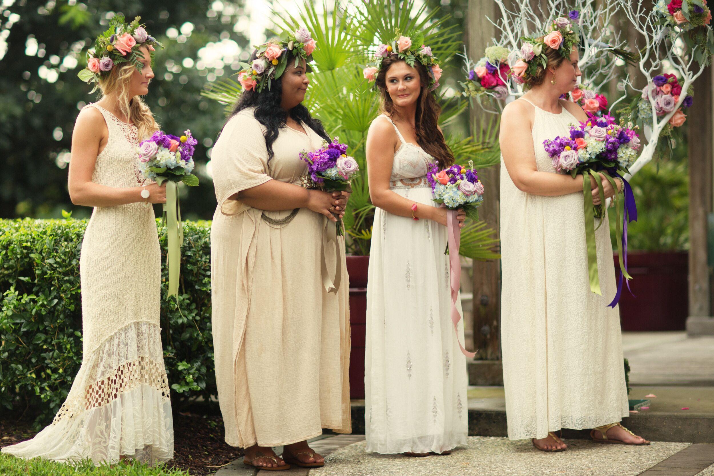 Neutral Long Bridesmaid Dresses
