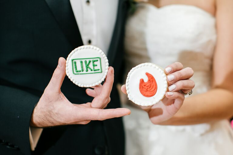 Tinder-themed wedding sugar cookies