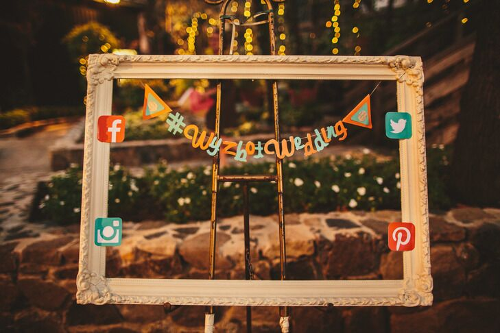 Empty frame prop with wedding hashtag