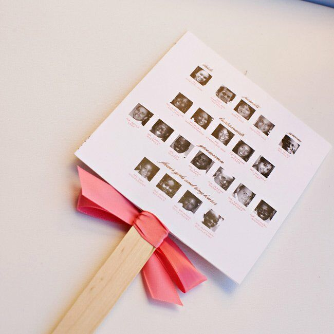 A multi-functional fan kept guests cool and included ceremony information along with a photo of everyone in the wedding party. The programs included a simple printout folded over a Popsicle stick—an easy DIY project.