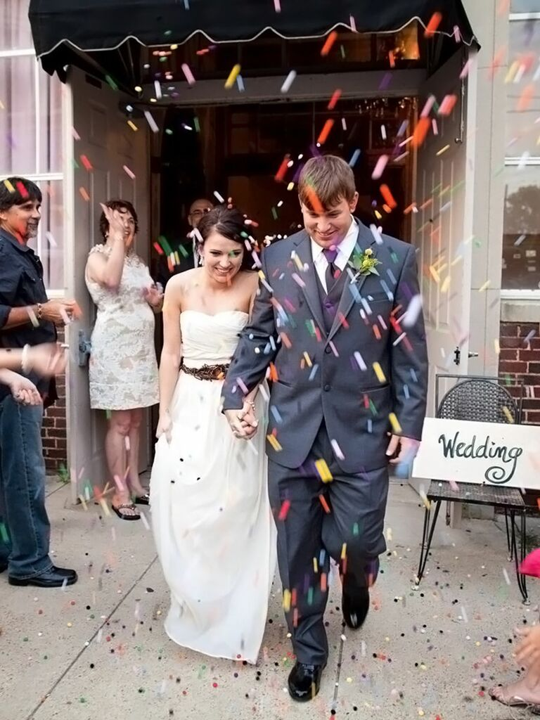 Colorful craft pom pom wedding exit toss