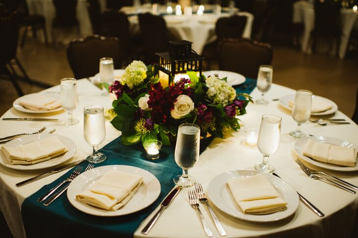 Purple, White and Green Flower Centerpiece
