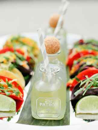 Tacos and Margaritas in Mini Patron Bottles