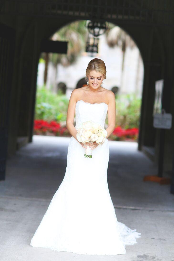 Classic Marisa Bridal Strapless Lace Wedding Dress