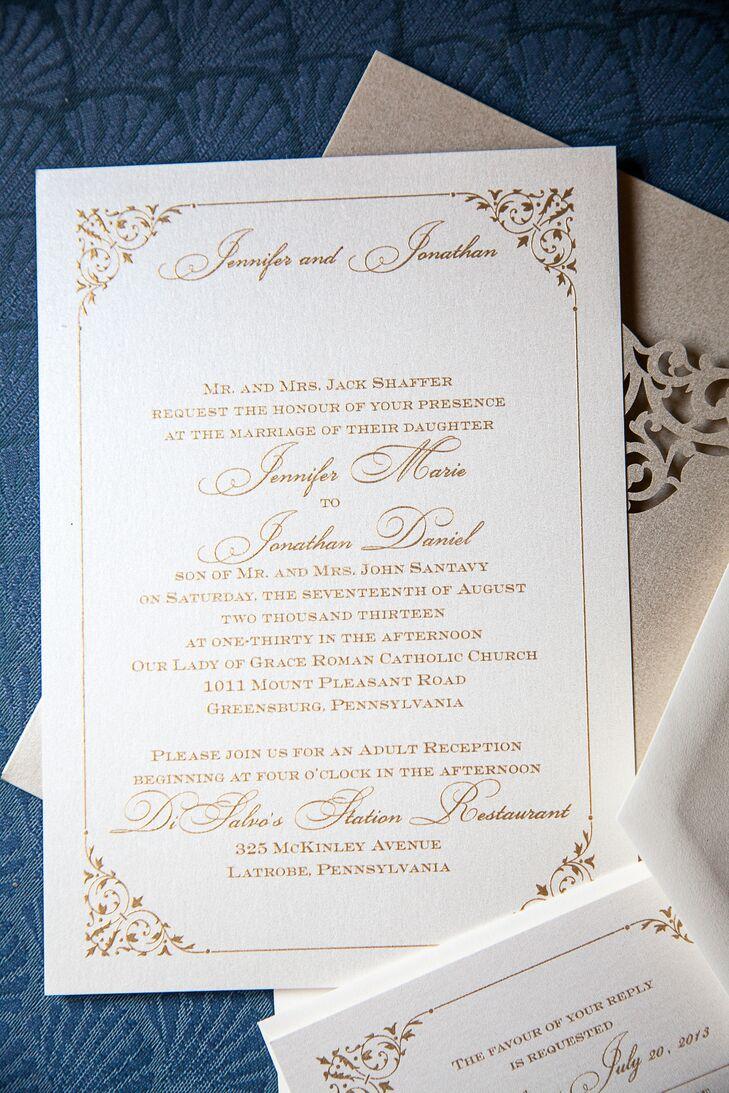 Gold Invitations with Corner Borders