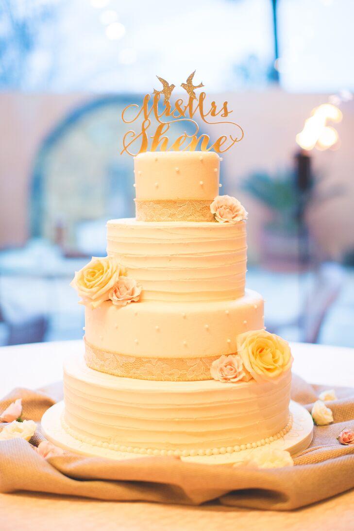 Custom Sparkly Gold Love Bird Newlywed Cake Topper