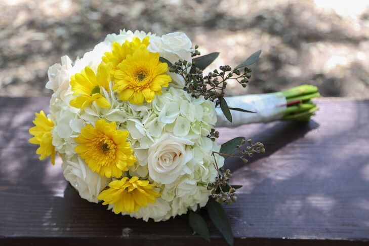 Daisy, Rose and Hydrangea Yellow and White Bridal Bouquet
