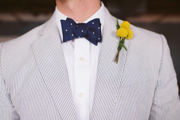 blue seersucker suit with navy bow tie