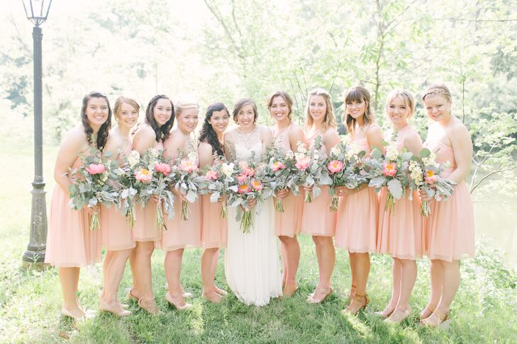 """J.Crew carries the most beautiful bridesmaid dresses in lovely, soft colors,"" Anna says. ""I decided on silk chiffon dresses in misty rose. I left the style of dress up to the girls, so they could choose something they felt comfortable in and would hopefully wear again."""