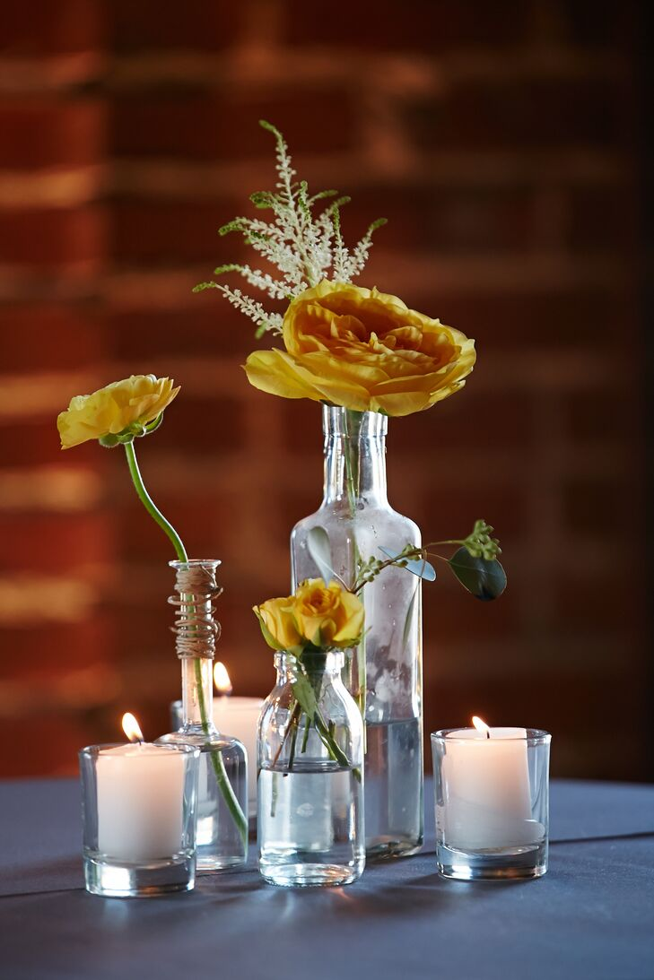 Understated Mixed Yellow Stem Centerpieces