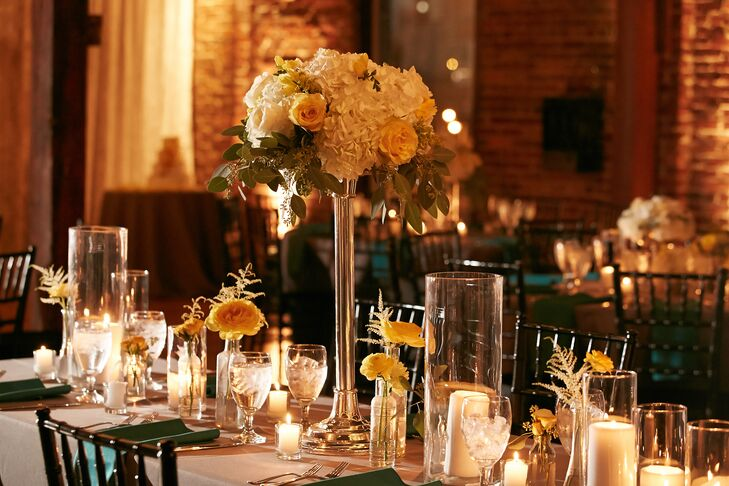 Yellow Rose and Hydrangea Centerpieces