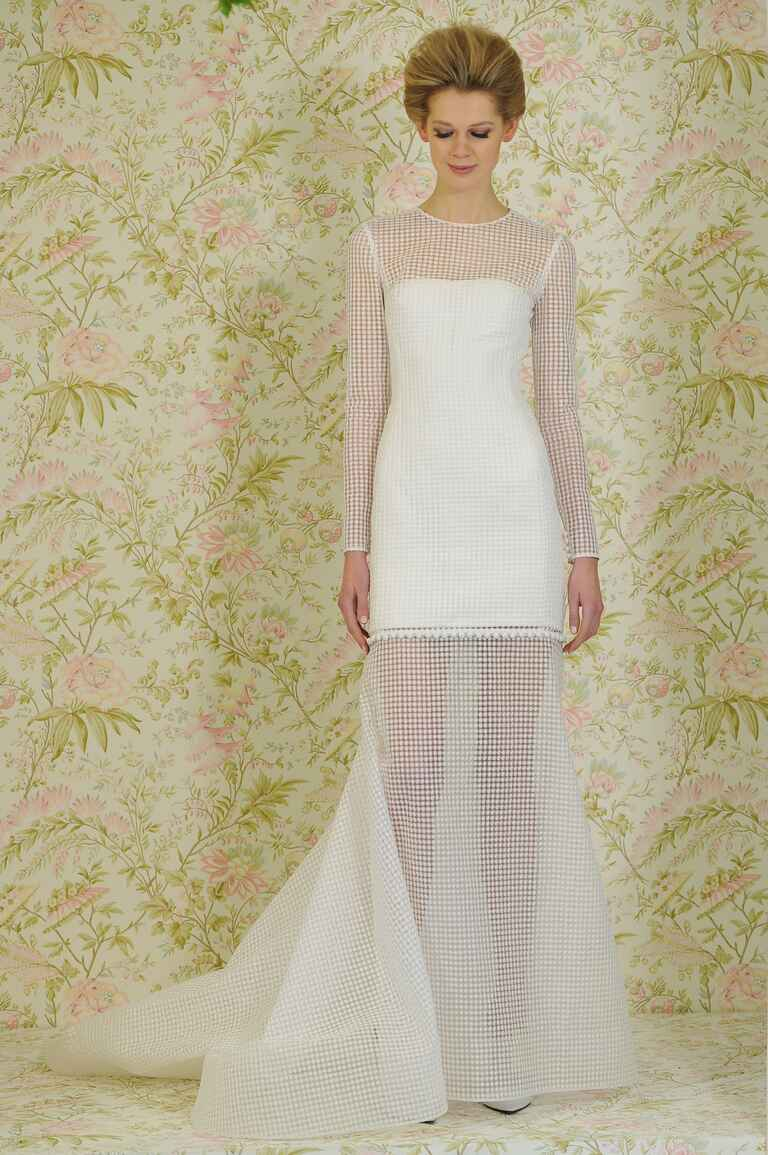 Sheer lattice Angel Sanchez wedding dress