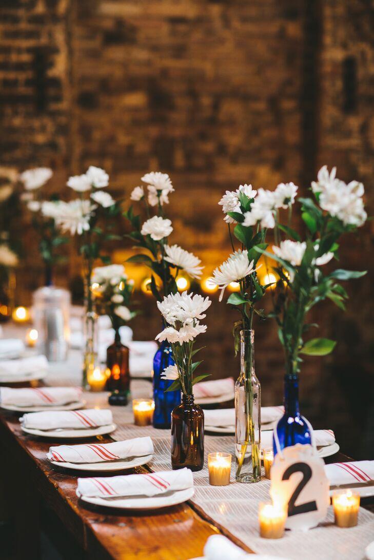 Diy bottle and white flower centerpieces izmirmasajfo