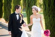 This modern-style wedding at Carmel Mountain Ranch Country Club in San Diego, California, was shaped by the black, white and pink palette—a romantic c