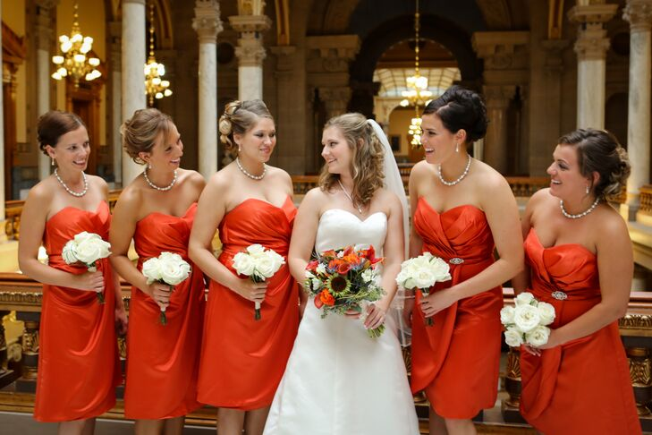 Burnt Orange Strapless Satin Bridesmaid Dresses