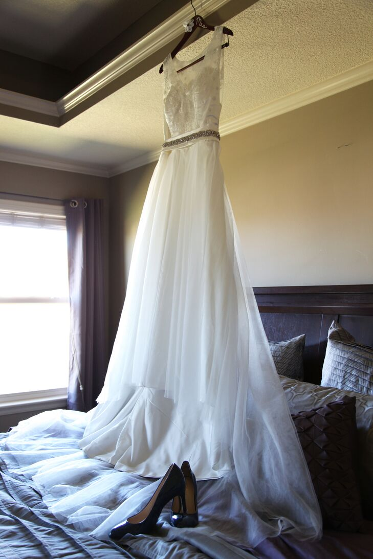 "Melissa ordered her wedding dress online. She found a picture she liked, based on a designer dress, and sent in her measurements. ""I was so scared to try it on that I drove to the home of one of my bridesmaids to try it on,"" she says. ""I was so pleased with the way it turned out."""