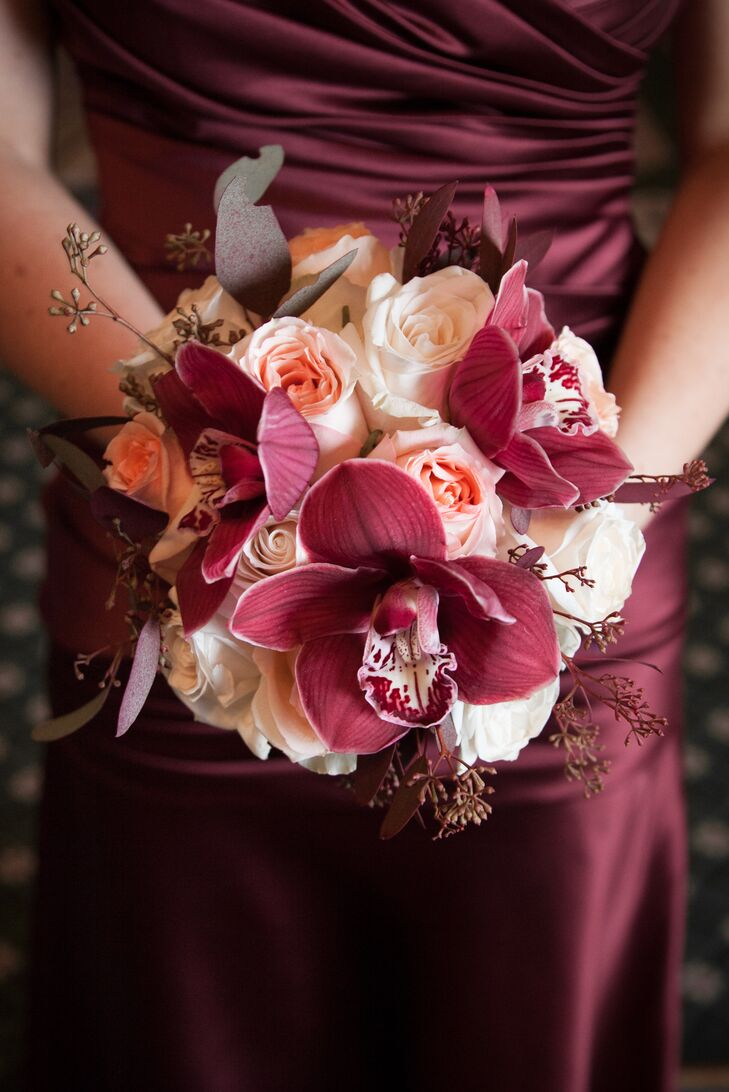 White and Burgundy Bouquet with Roses and Orchids