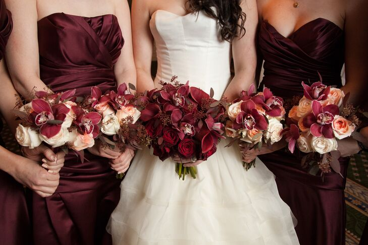 4570book Hd Ultra Burgundy Bridesmaid Dresses And White