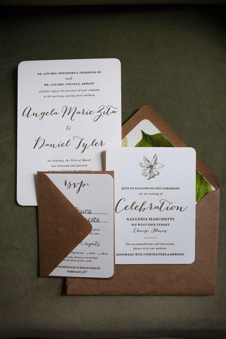 White wedding invitations with magnolia accents stopboris Gallery