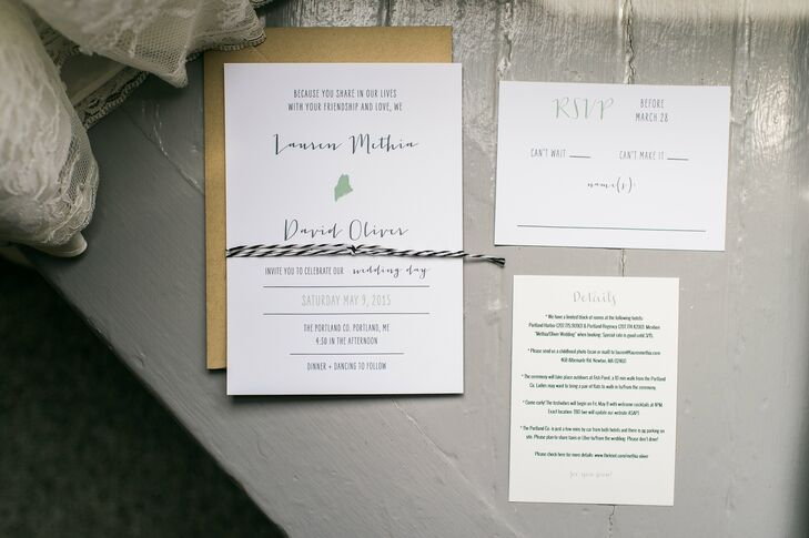 To set the tone for their seaside celebration in Portland, Maine, Lauren and Dave had Marie Chang Designs create a custom invitation sweet with a modern, whimsical aesthetic. Calligraphy inspired fonts, a muted color palette and a subtle Maine motif spoke to the wedding's laid-back, natural and industrial vibe.