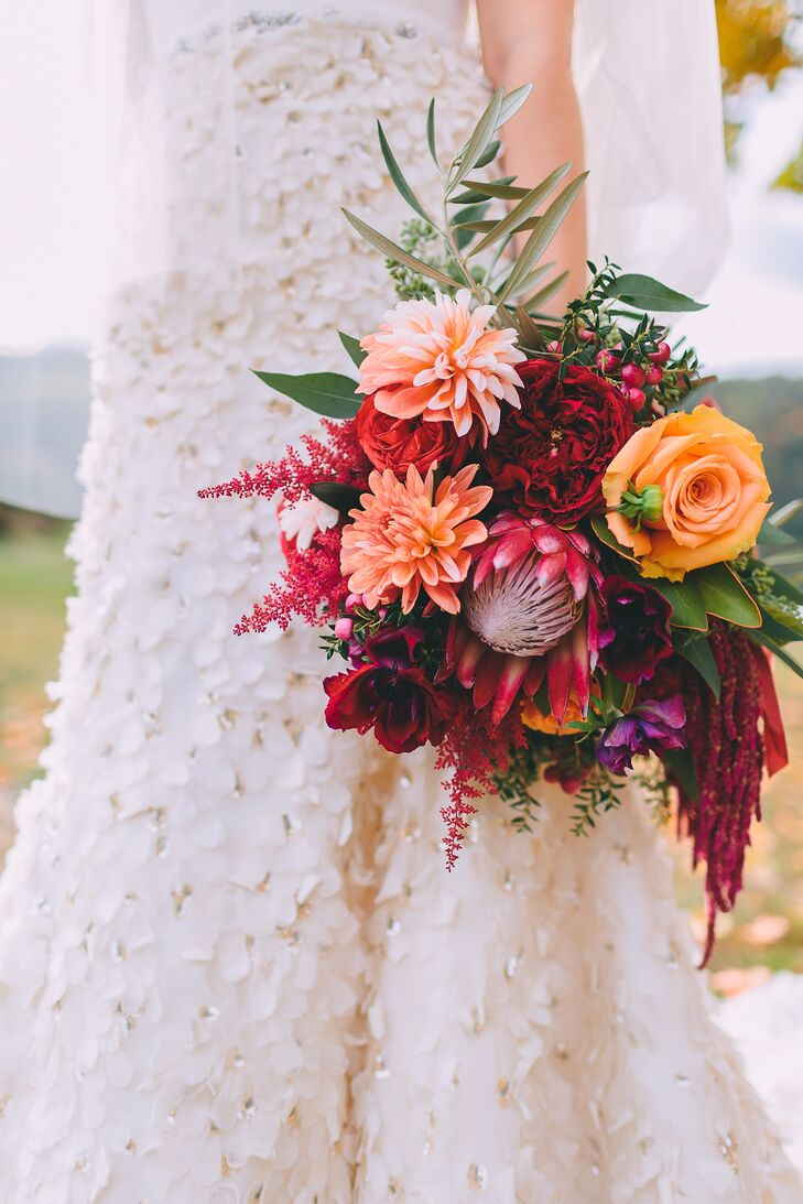 Fall-Colored Protea, Rose, Astilbe, and Dahlia Bouquet