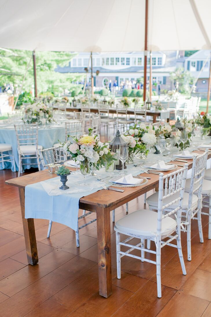 Bellafare and Dragonfly Events joined forces to help bring Rebecca and James's vision for a elegant garden affair with a vintage, eclectic twist to life. They used a palette of soft gray, sage green, peach ivory and mist, carriage lanterns with old-world charm and wooden farm tables with warm, country flair.