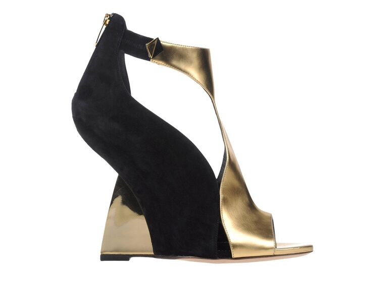 Sergio Rossi gold wedding wedge sandals