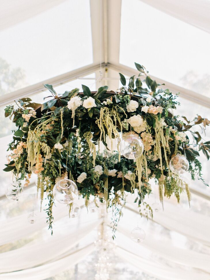 Greenery, Rose and Amaranthus Adorned Chandelier