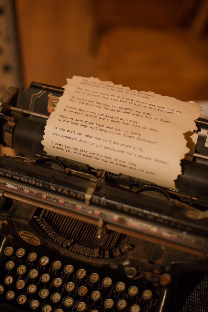 typewriter guest book sign with poem