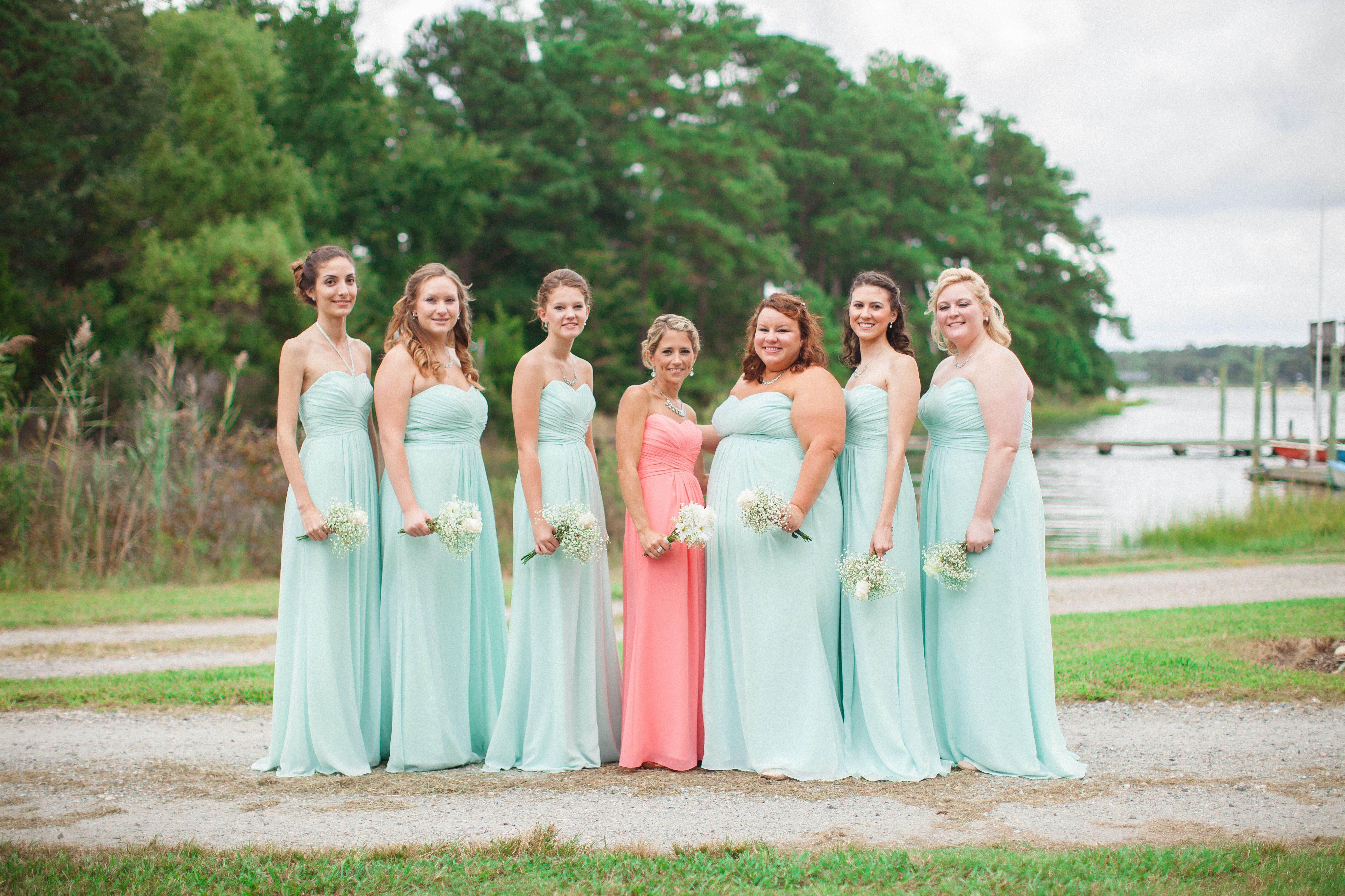 Bridesmaids In Mint Maid Of Honor In Coral