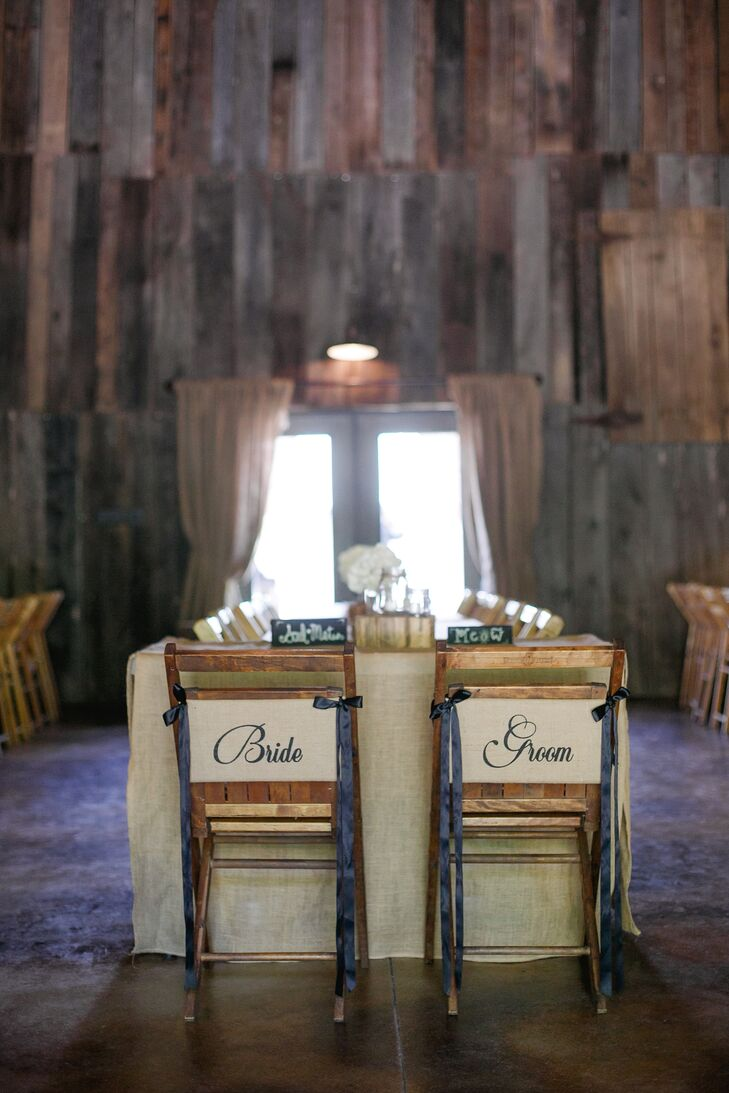 The head table had a burlap tablecloth, and the family-style dining tables had burlap runners. Each table also had simple hydrangea centerpieces to reflect the Southern theme.