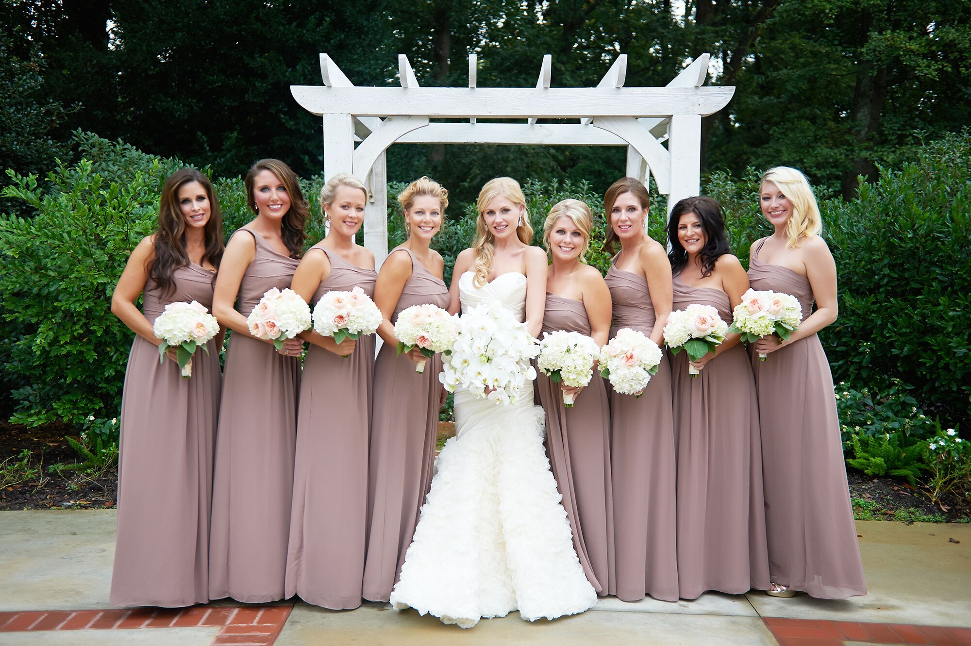 Custom trumpet style wedding dress in atlanta georgia taupe bridesmaids dresses with pale bouquets ombrellifo Image collections