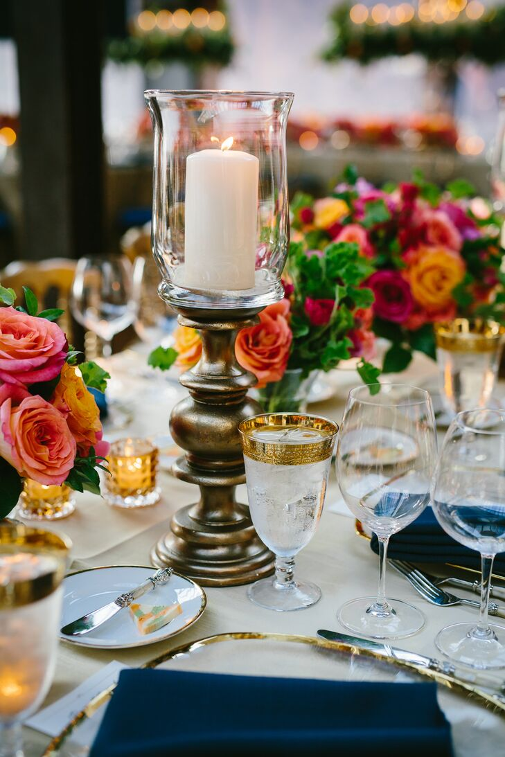 Navy and Gold Tablescape with Pillar Candles