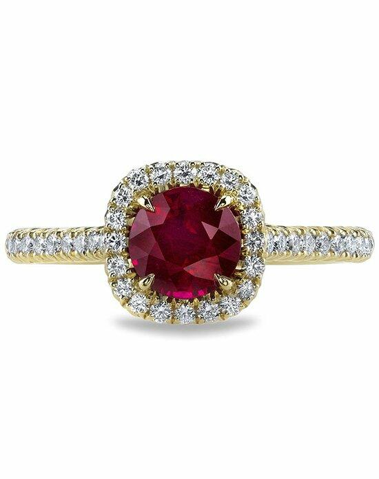 Ritani Ruby French-Set Diamond Cushion Halo Engagement Ring in 18kt Yellow Gold (0.34 CTW) Engagement Ring photo
