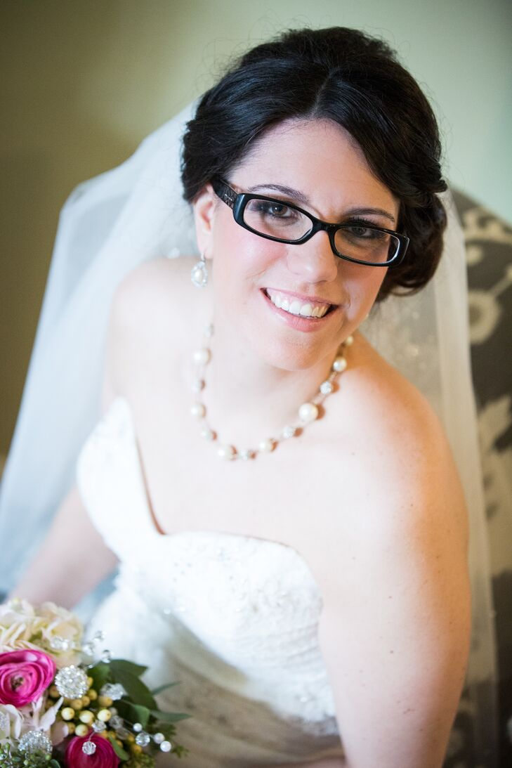Bride with Side Updo, Glasses, Veil, and Pearl Jewelry