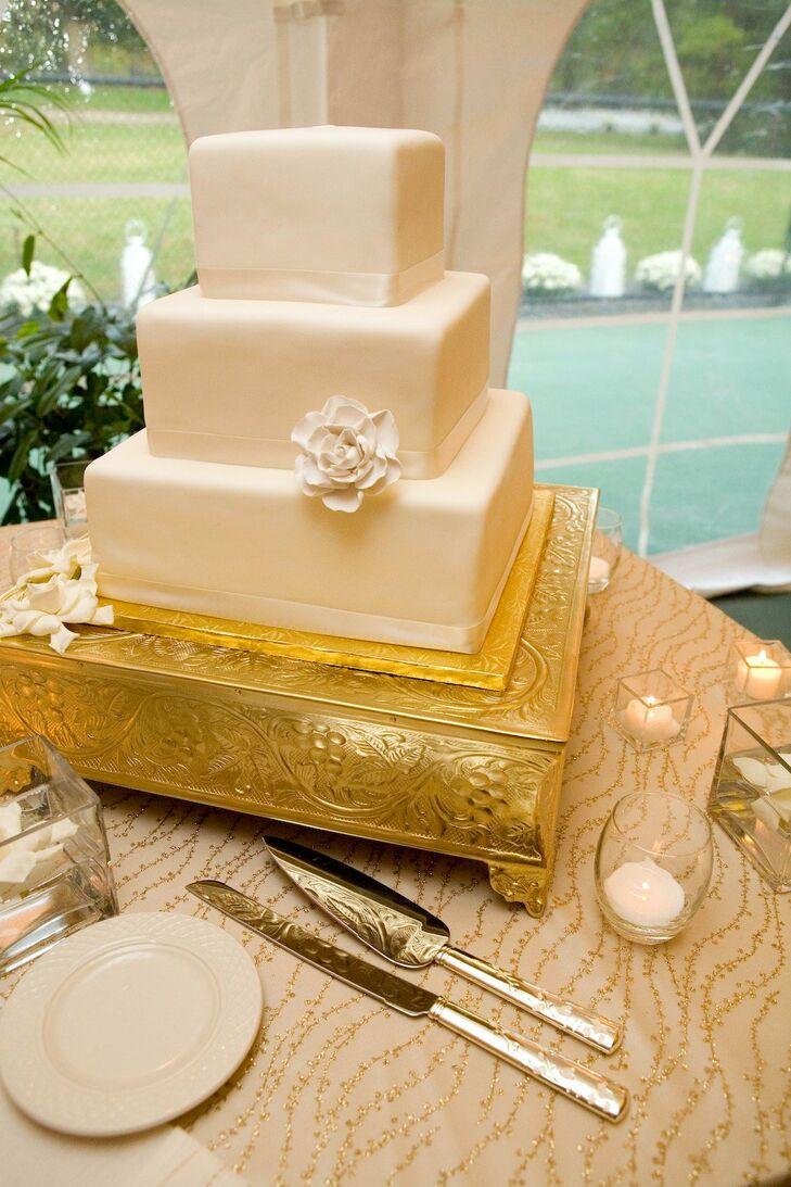 Square Ivory Wedding Cake