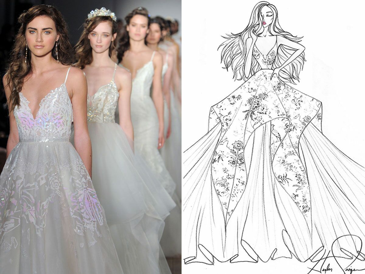 Wedding Dress Sketch Gift: Exclusive Wedding Dress Sketches By Designers Hayley Paige
