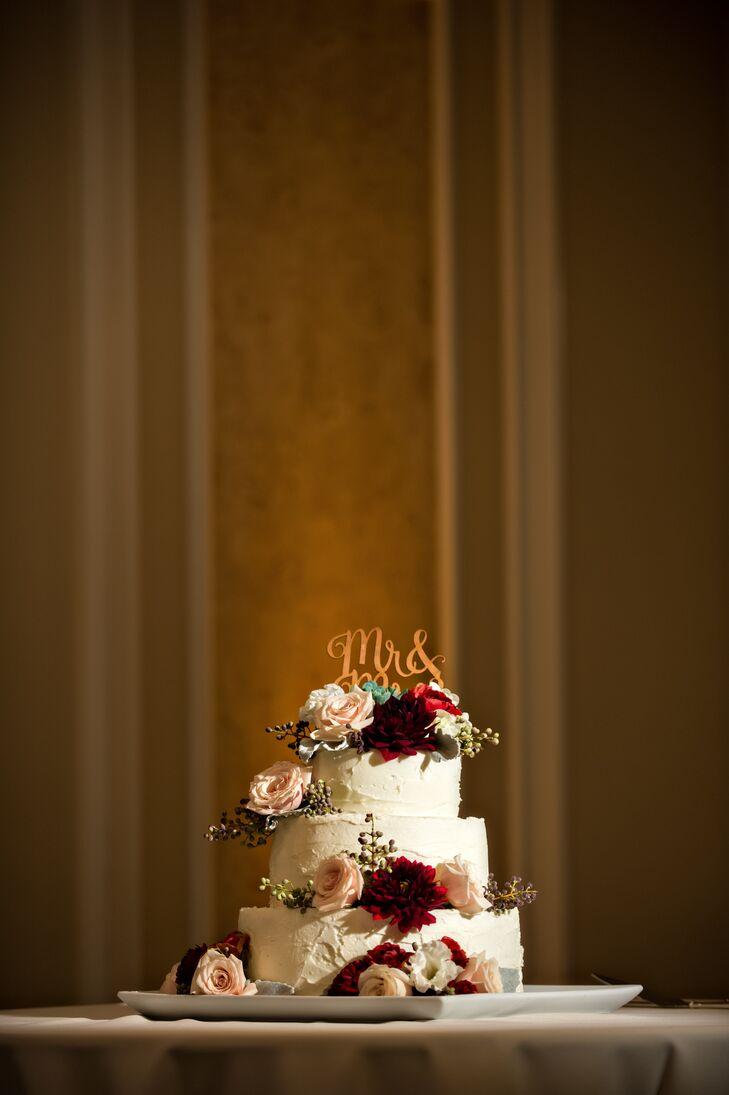 Rustic Blush Rose And Burgundy Dahlia Wedding Cake