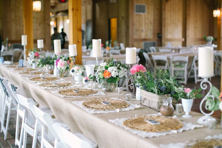 Rustic, Garden-Inspired Candle and Flower Centerpieces