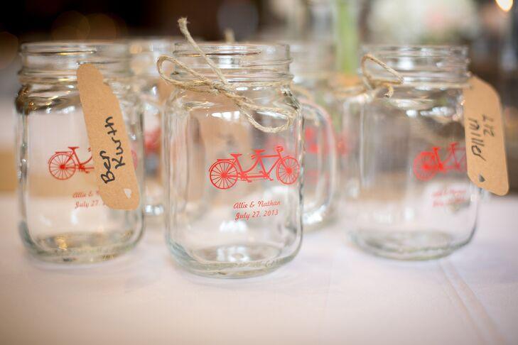 Bicycle decorated stemmed mason jar favors - Stemmed mason jars ...