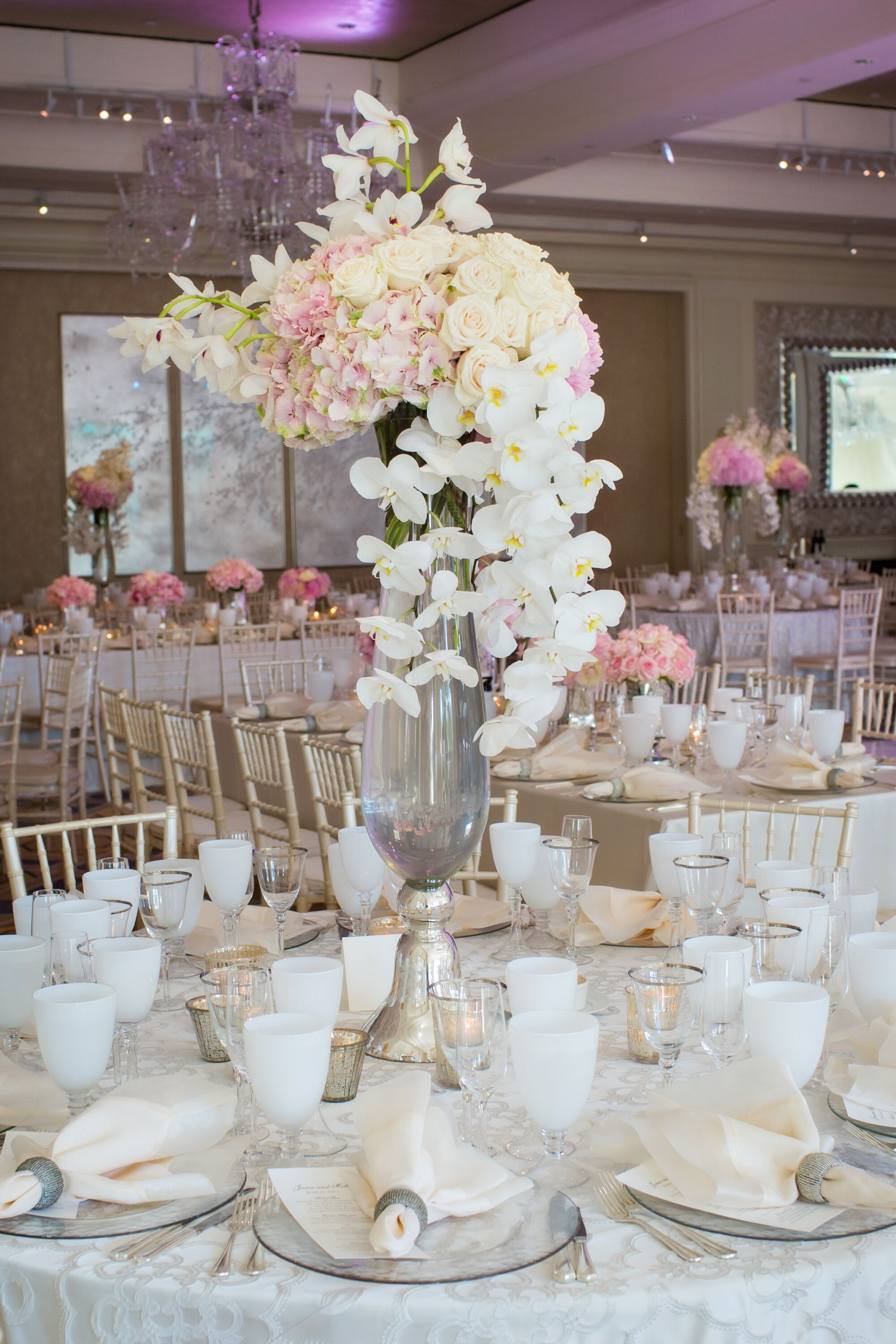 Tall Cascading Orchid Centerpieces