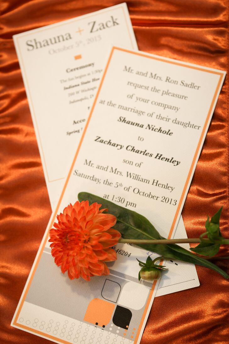 DIY Burnt Orange Wedding Invites