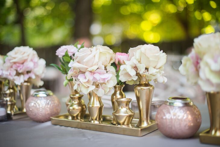 Modern blush and gold centerpieces