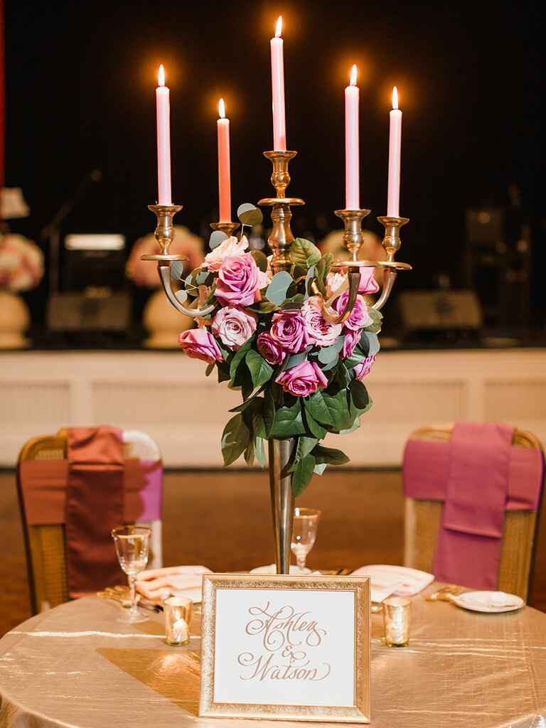 Candelabra wedding centerpiece idea for magical 'Beauty and the Beast' vibes