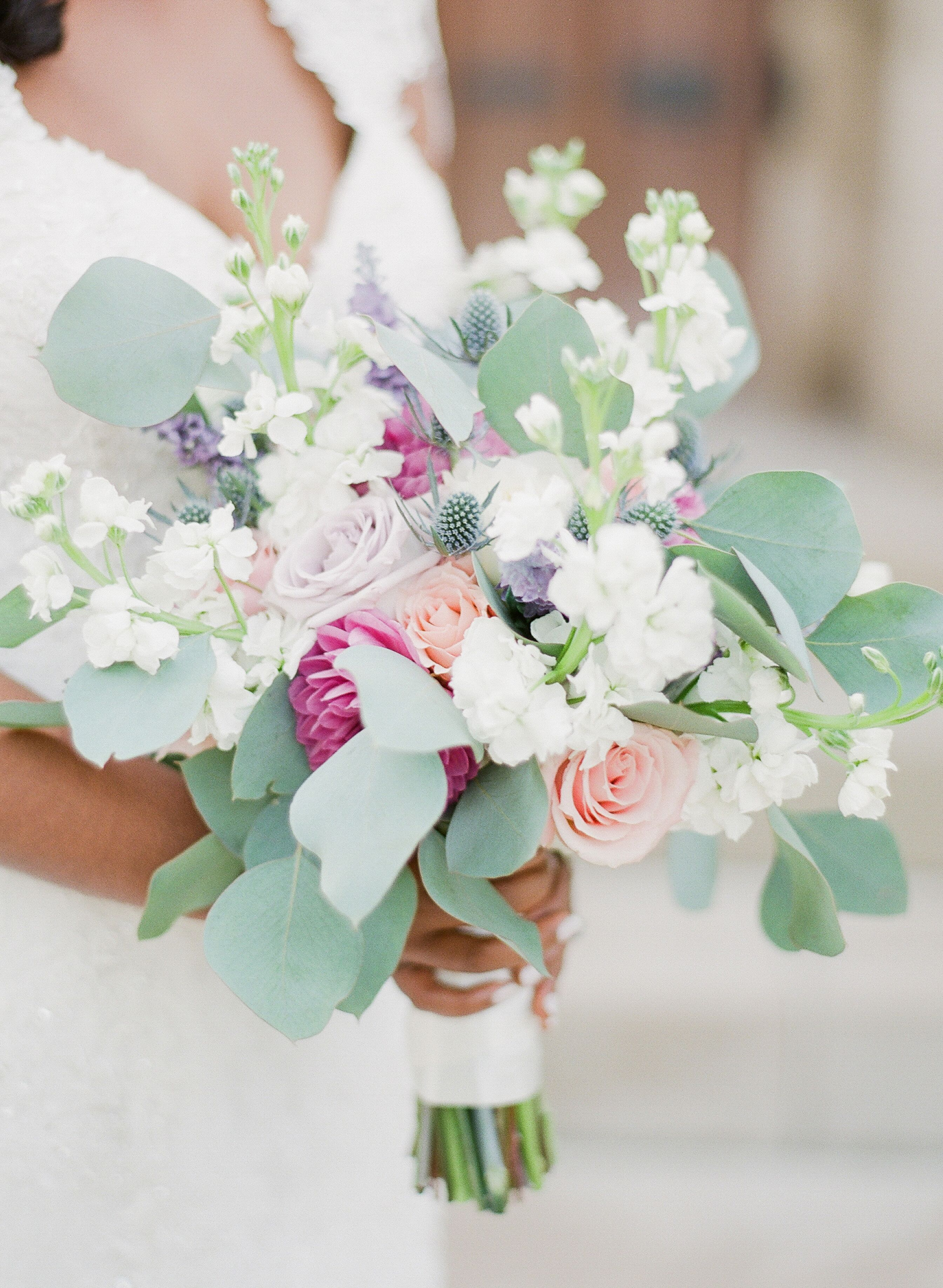 Bouquet With Roses Dahlias Blue Thistle And Eucalyptus