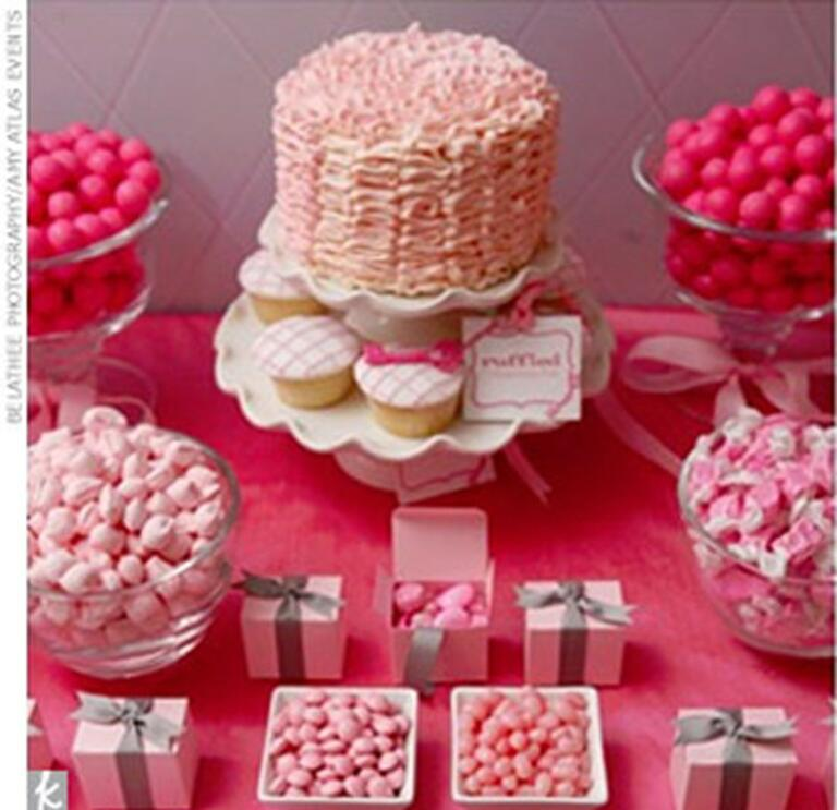 pink wedding dessert table and candy par