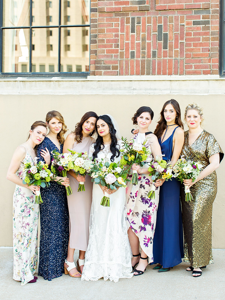 How to dress your bridesmaids in floral prints bride with bridal party in floral bridesmaid dresses ombrellifo Image collections