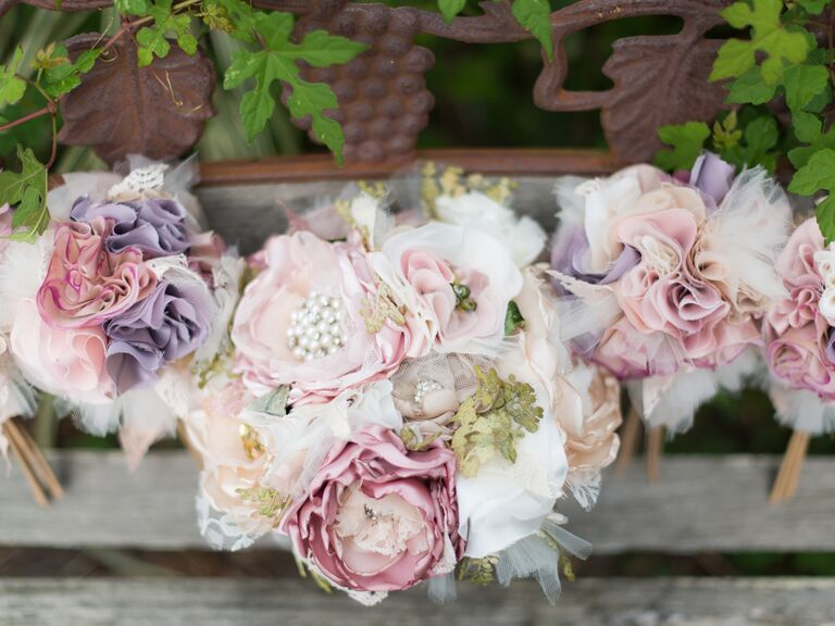 Pastel bridal bouquets made from silk flowers