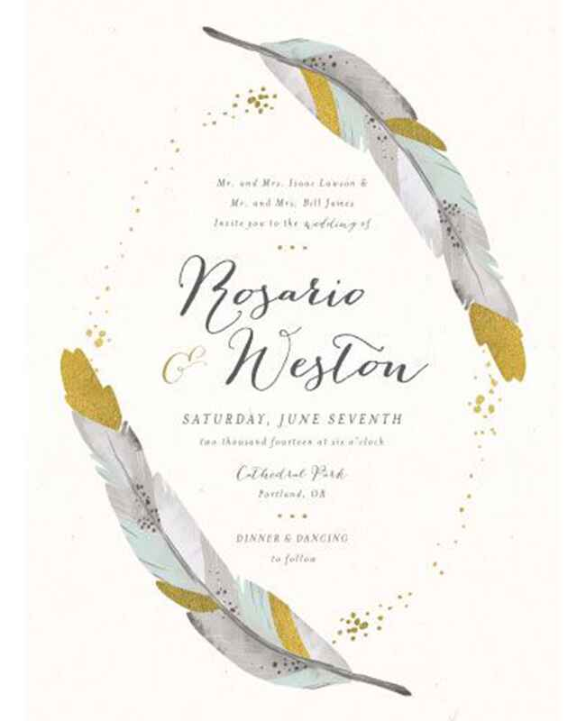 Dipper feather wedding invitation