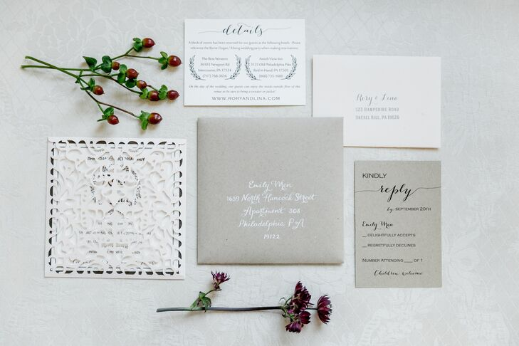 Gray and White Invites with a Laser Cut Sleeve